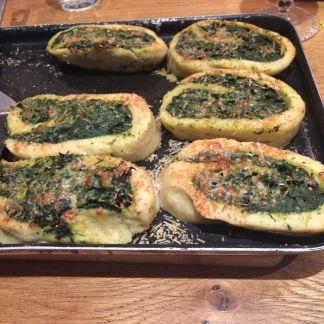 Potato and spinach strudel