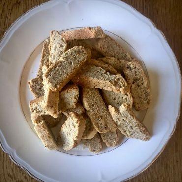 Vegan olive oil almond biscotti